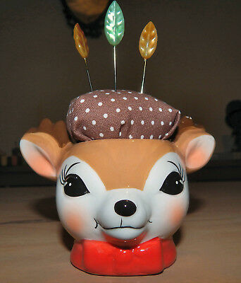 Gorgeous: Pottery  Retro Style: Deer/reindeer Egg Cup Pin Cushion