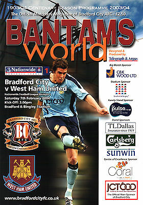 2003/04 Bradford City v West Ham United, Division 1, PERFECT CONDITION