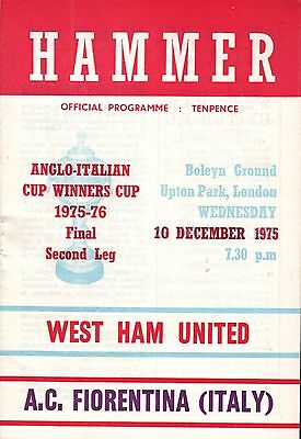 1975/76 West Ham v Fiorentina, Anglo Italian Cup Winners Cup, PERFECT CONDITION