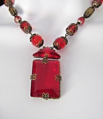 Vintage Edwardian/victorian Ruby Red Glass Choker Necklace,big Emerald Cut Stone