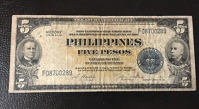 1944 Philippines 5 Peso US Victory Series 66 *free 1 Peso note* In USA Free S/H