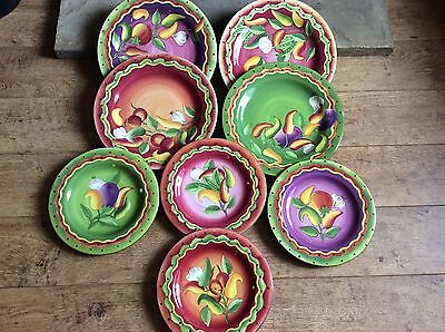 8 X LAURIE GATES DINNER WARE PLATES 4x12  And 4x9 1/2 . & 8 X LAURIE GATES DINNER WARE PLATES 4x12