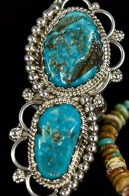 Old Pawn Vintage NAVAJO Kingman Natural Turquoise 2 Stone Ring by YAZZIE