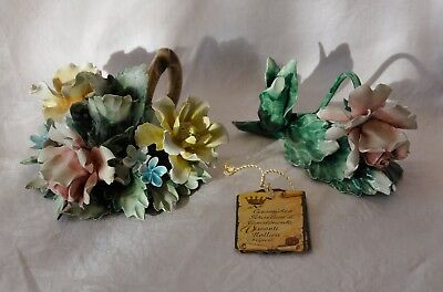 2 Vintage Capodimonte Rose Candle Holders