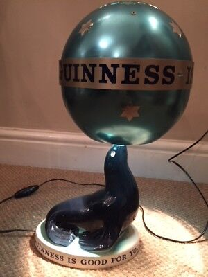 Carlton Ware Guinness Sea Lion Lamp with Original Global Shade - Mint & Working!