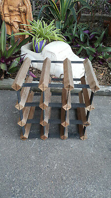 Timber and Metal Freestanding Wine Rack