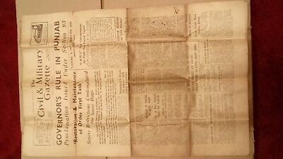 The Civil & Military Gazette vintage  newspaper  MARCH 6 1947 two annas india