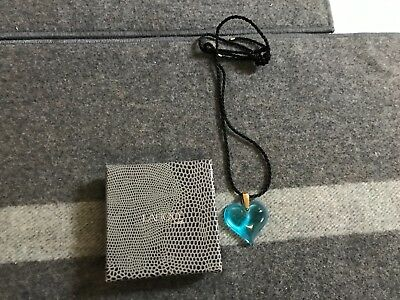 SUPER VINTAGE Lalique France AQUA BLUE HEART PENDANT Necklace   EXCELLENT IN BOX