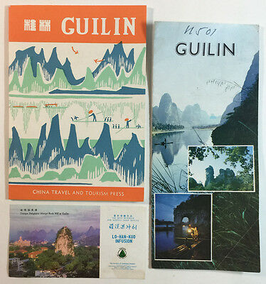 Guilin China Vintage Travel Brochure Booklet and Lo Han Kuo Infusion Ad Card