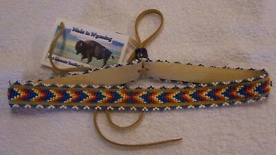 Hand Made Beaded Hat Band Rendezvous Black Powder Mountain Man 01