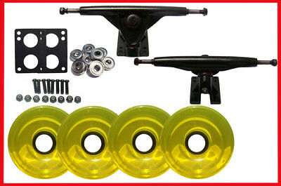LONGBOARD 180mm BLACK TRUCKS WHEELS & ABEC 7 BEARINGS