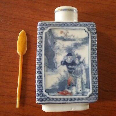 Antique Chinese Porcelain Snuff Bottle Blue & White Red Painting