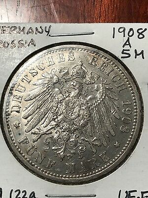 German States Prussia 5 Mark, 1908 a