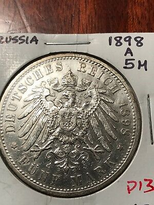 German States Prussia 5 Mark, 1898 a
