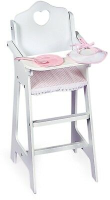 Badger Basket White Doll High Chair With Plate, Bib, And Spoon (fits American