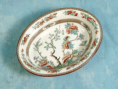 Antique 1860 COPELAND Indian India Tree Green Rust Oval Open Vegetable Bowl Dish