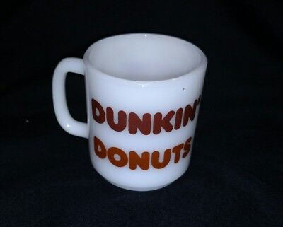 Vintage Glasbake Milk glass Dunkin' Donuts Coffee Cup Mug Advertising