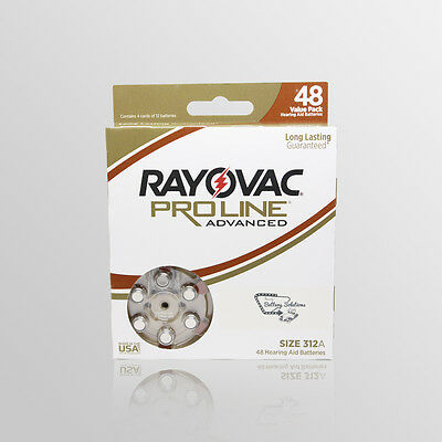 New, Size 312A, Rayovac Proline Advanced Hearing Aid Battery - 48 Pack