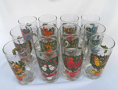 Vtg Indiana Glass 12 Days Of Christmas Tumblers Complete Set In Box 1980