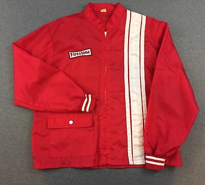 VINTAGE FIRESTONE TIRES RED WINDBREAKER JACKET SIZE medium no tag see measurment