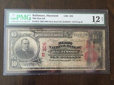 1902 VERY RARE $10 RED SEAL National Currency PMG Fine 12