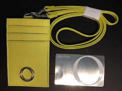 Oroton Metier Leather Lanyard and Wristlet Tag ID Card Holder - RRP$125 BNWT