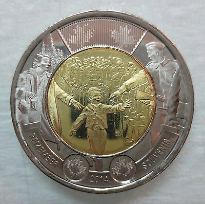 2014 Canada 2 Dollar Wait For Me Daddy Toonie Brilliant Uncirculated Coin