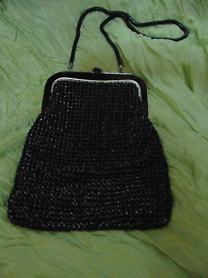 Genuine Glomesh Bag 1950-1960s Vintage Black with Coin Purse as shown