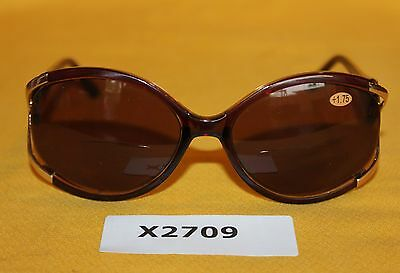 Womens Reader Reading Sunglasses Brown Prescription +1.75 NEW   X2709