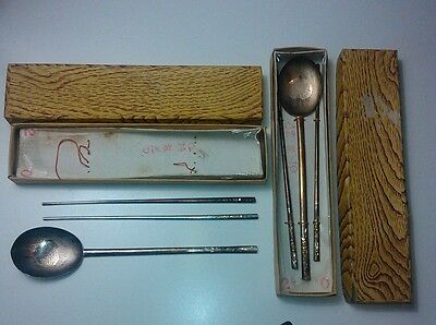 Vintage Sterling Silver Chopsticks and Spoons from Korea
