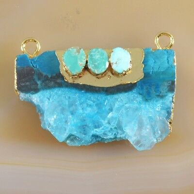 Blue Agate Druzy Geode & Genuine Turquoise Connector Gold Plated B049377