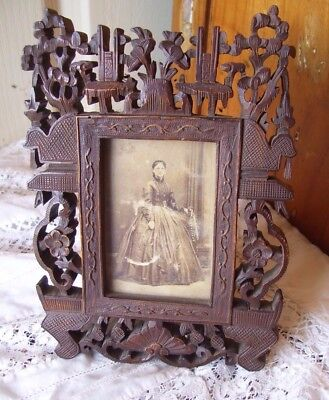 Antique Chinese Carved Wooden Picture Frame-circa 1860 with Original Photo.
