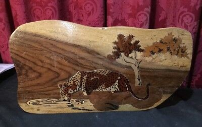 Vintage Antique Rosewood Walnut Parquetry Inlay Hanging Plaque Leopard & Trees