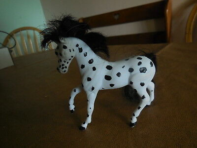 Reeves Breyer White Horse Black Spotted Pony  Mane & Tail