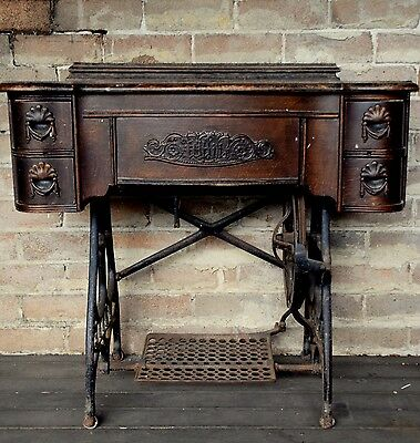 Antique WHITE Sewing MACHINE with Wrought IRON Base TREADLY Table