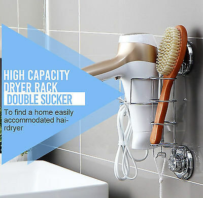 Hair Dryer Holder Comb Straightener Curling Basket Storage Rack Wall Suction Cup