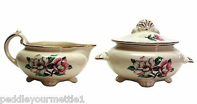 Vintage Cunningham & Pickett Magnolia Hand Decorated Cream & Sugar Set 22k Gold