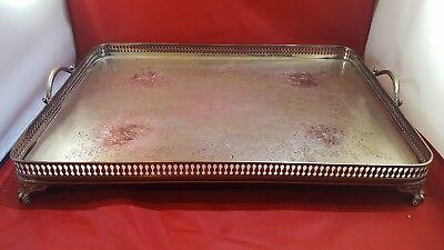 Vintage Butlers Silver On Copper Serving Tray Large Plated 2 Handle Footed Fancy