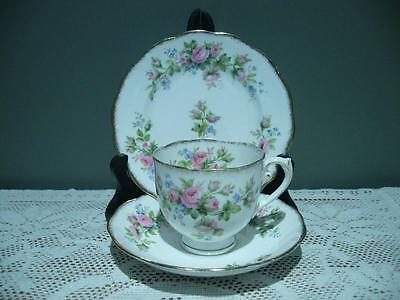 Roslyn Bone China Vintage Trio - Moss Rose - Cup Saucer Plate - High Tea - Vgc