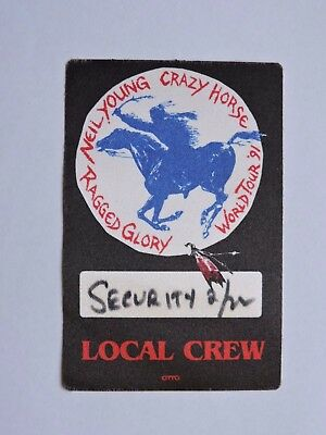 1998 Neil Young & Crazy Horse Raged Glory Tour Backstage Pass ! Cloth Sticker !!