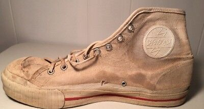 Vintage 1950s SPRINGFAST White High Top Canvas Basketball SNEAKERS Shoes