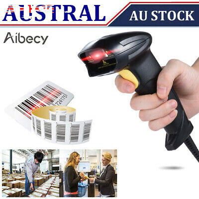 AU Wireless Cordless Handheld USB 2D QR Code Barcode Scanner Reader+Receiver POS