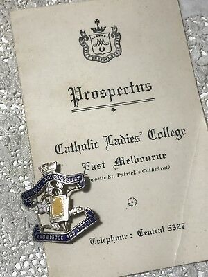 Vintage CATHOLIC LADIES COLLEGE East Melbourne - CLC Badge & Fees Prospectus