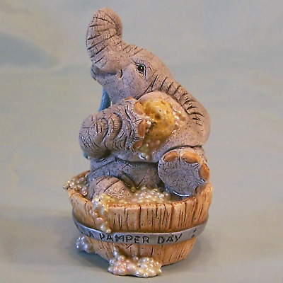 Tuskers Elephant MIB New Love Is Pamper Day Washtub Bubble Bath Spa Figurine NOS