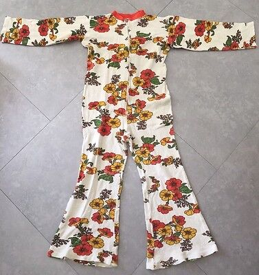 Vintage Schlafanzug Overall Frottee Mit Flowers In Gr 152 DDR 1972