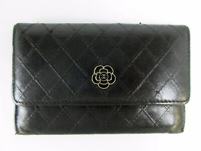 Authentic CHANEL Camellia Card Case Black Leather 44597