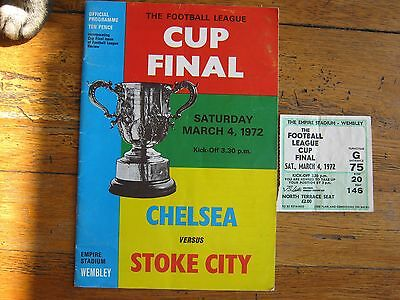 PROGRAMME + TICKET + FL MAG LEAGUE CUP FINAL 1972 CHELSEA v STOKE CITY MINT COND