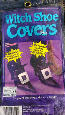 Witch Shoe Covers Ladies Halloween Fancy Dress Accessory