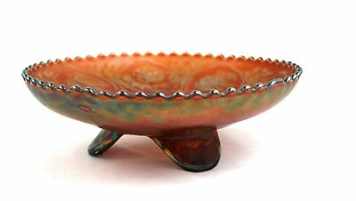 Fenton Carnival Glass Footed Bowl Dragon & Lotus Ice Cream Shape Marigold