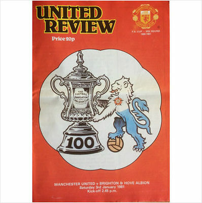 Manchester United v Brighton & Hove Albion FA Cup  3 Jan 1981 Football Programme